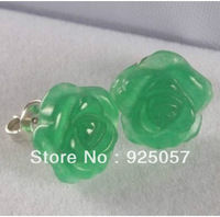 Beautiful Jewelry natural jade carving Flower Earrings Fashion jewelry