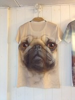 Pug personalized animal 3dt fashion short-sleeve men's clothingstereo male 3d  t shirt
