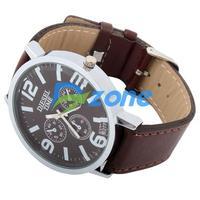 New Men/Women 4.5CM Round Shape 4 Dial Watch PU Leather [3008|99|01]