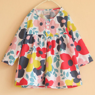 Female child 100% flower cotton long-sleeve dress shirt skirt top skirt ak54 spring children's clothing(China (Mainland))