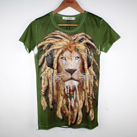 Personalized animal the lion king 3d print fashion men's summer short-sleeve T-shirt male
