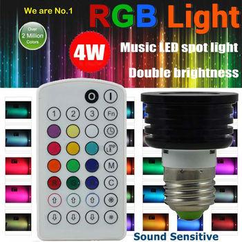 Wholesale 4W Double Brightness E27 RGB LED Spotlights,over 2 Million Colors Change,Music Remote Control,YSL-MC4W