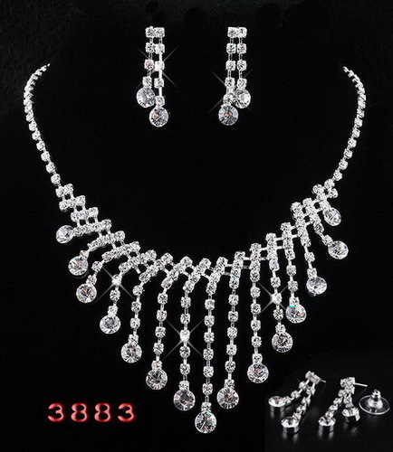 Hot Sale Free Shipping Fashion Up Market Rhinestone Jewelry Bride Macrame Two-piece Jewelry Factory Price.Best Choice To Women(China (Mainland))