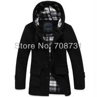 Wholesale/Retail Fashion Men's Casual Hooded Wool Coat Winter Trench Coat Outear Overcoat Long Jacket Black&Grey M/L/XL/XXL