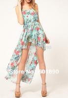 Lady Women's Sexy Sleeveless Irregular Floral Asymmetric Chiffon Vest Dress Wholesale Free Shipping # 2520512