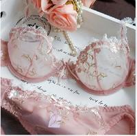 Romantic Pink Transparent Sexy Lace Elegant Embroidery Bra Set Women Sexy Underware set Fashion Design Summer Underwear