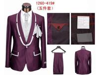 Free shiping!!! 2013 Men's brand Suits  Wedding dress Suit male formal dress suit  for men  ( coat+pants+vest+tie+kerchief)