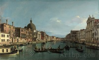 Canaletto Venice The Grand Canal with Simeone Piccolo beautiful gifts office reproduction print on canvas art decoration