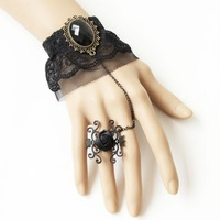 Min.order is $15 (mix) witch Bracelet with Ring Vintage Women Gothic Style Brace lace Personality Wedding jewelry