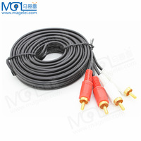 High quality 2 RCA to Dual RCA Plug Stereo Audio Patch Cable Wire M/M TV DVD Sound 5M