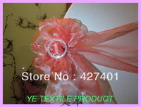 Peach Sonw Organza Chair Sash For Wedding Event &Party Decoration