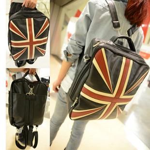 Fashion vintage torx flag backpack student school bag 2013pu bag casual bag