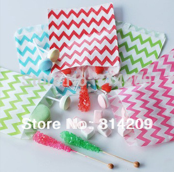 100pcs/lot, 5inch x 7inch- Mix 4 Colors Chevron Paper Treat Favor Bags, Food Safe Party  Paper Bag, Best Party Gift Candy Bag