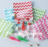 Promotion! 5inch x 7inch- Mix 4 Colors Chevron Treat Craft Paper Popcorn Bags, Food Safe Party Favor Paper,, Best Party Gift Bag