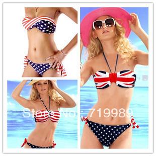 Big Discount Sexy Swimsuit Swimwear Women Sexy STARS STRIPES American Flag Bandeau Bikini