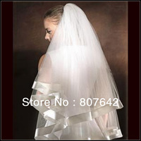 Free shipping Super white beige champagne two layers elegant wedding dress veil bridal veil accessories Cathedral Sky-V088