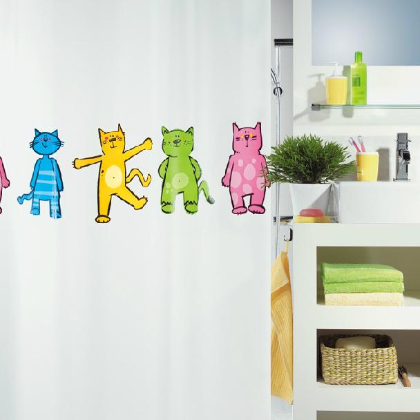 Cortinas De Baño Gatos:moda spirella gato de dibujos animados de la cortina de ducha de baño