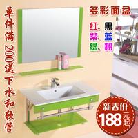 Thick glass basin bathroom cabinet furniture combination of wash basin wash basin wash basin