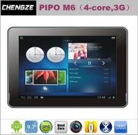 built-in 3G, New Arrival 9.7inch Quad core  Retina 2048x1536 tablet pc PIPO M6 RK3188 1.6GHz  Dual Camera Flashlight Autofocus
