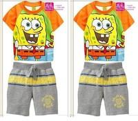 2013 childrens short-sleeved cartoon summer suit boys girls Pajamas clothing set kids clothes sets Free Shipping