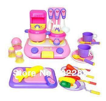 kids kitchen accessories playset plastic furnitures kitchen set with cooktop doll furniture