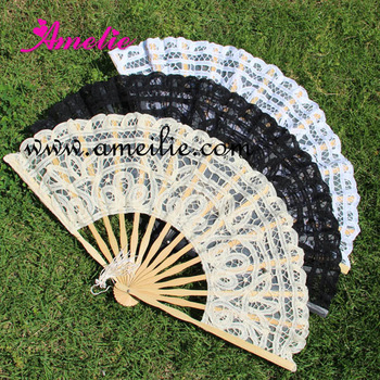 30pcs/lot Free Shipping 27cm  lace embroidery wedding Fan