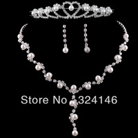 Own factory made lowest price New design  pearl bridal jewelry sets fashion sets wedding jewelry accessories