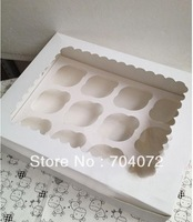 wholesale-free shipping cupcake box 12 cup cake boxes with show window&inserts holder cupcakes  carrier