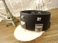 New arrival trendy punk rivets unisex mens leather bracelets for women 2013 bangle jewelry