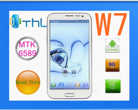 Free shipping original THL W7 MTK77 RAM1G ROM 4G Quad core Android 4.0 5.7 'Screen 8MP perfect(xd)