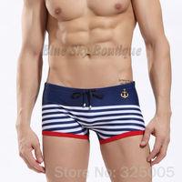 2014 Newest sexy men's swim trunks dark blue striped men swimsuit tether swimwear diving shorts nylon board shorts