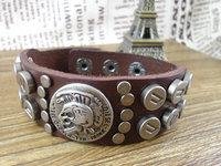 new arrival punk skull skeleton charms rivets wide brand mens leather bracelets for women 2013 bangle