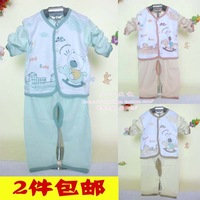 2 small spring and autumn wear pant baby child long johns set infant 100% cotton underwear print long-sleeve twinset