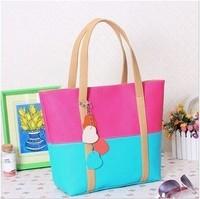 Hot sale Women's bag fashion candy color instock  2014 women's handbag female PU shoulder bag,free shipping,27*20*9 cm cheap