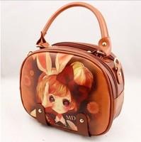Spring  summer women handbag circle shoulder bag spraying girl cartoon small bag,free shipping,24*10*21 cm, sweet smart popular