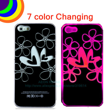 1pc,LED Lighting Case for iPhone 5,7 color Led Changing Call flashing Flower Pattern Cover,Button Battery+Free Shipping ST0528