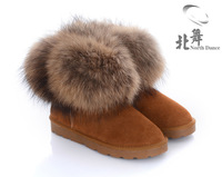 First layer of cowhide snow boots fox fur boots winter boots low genuine leather boots cowhide women's shoes