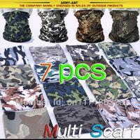 7-PCS Free Shipping Multi Scarf Neck Bandana Mask Cap Hat Heardwear Seamless Tubular Microfiber Cycling Motor Bike Camouflage