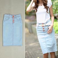 free shipping 6193 summer slim denim skirt slim hip bust skirt single breasted medium placketing denim skirt
