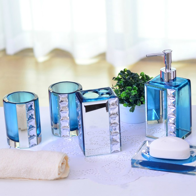 Fashion Quality Crystal Bathroom Set Blue Resin Bathroom Set Of Five Pieces  Fashion Bathroom