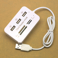 HY619 3 port usb hub USB 2.0 HUB with Micro multi card reader for TF/SD/MMC/M2/MS/MS Pro Duo Free shipping