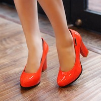 2013 japanned leather women's patent leather shoes metal thick heel ultra high heels single shoes Women s056x31-6563 85