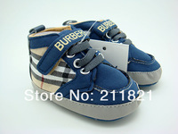 SanFu--B009 baby boy first walkers shoes blue plaid toddler and home shoes size 2 3 4 in US free shipping