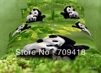 Hot Beautiful 100% Cotton 4pc Doona Duvet QUILT Cover Set bedding set Full / Queen/ King size 4pcs animal green lovely panda