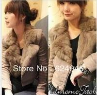 Hot selling!!Women yards thick warm coat rabbit fur collar long-sleeved woolen jacket zipper  free shipping