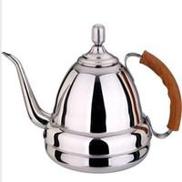 Stainless steel silver long silver pot electromagnetic furnace kettle fashion wooden handle tea pot tea pot water bottle
