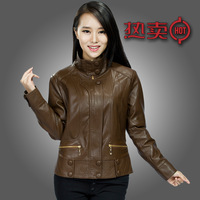 Free shipping 2013 Spring and autumn new arrival genuine leather clothing female short design slim stand collar sheepskin plus