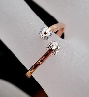 double zircon inset real gold plated finger ring MIN-ORDER $6 MIX ORDER