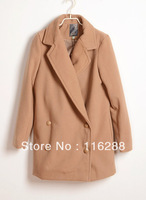 Free shipping 2013 winter new retro British style double-breasted woolen coats womens overcoat ladies top coats clothing 0261