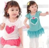 Children's clothing Retail 2014 spring new arrival girls fashion tutu dress kids flower Princess T-shirt kids Free shipping